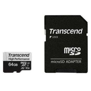 Карта памет 64GB microSDXC с адаптер, Transcend 330S, UHS-I U3, скорост на четене 100MB/sec, скорост на запис 85MB/sec image