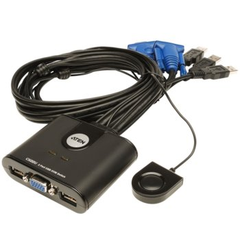 KVM суич Aten CS22U, от 2x USB A(ж), 1x HDB-15(ж) към 4x USB A(м), 2x HDB-15(м), 1 устройство image