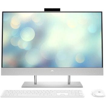 "All In One компютър HP 27-dp1011nq (107G6EA)(сребрист), осемядрен AMD Ryzen 7 4700U 2.0/4.1 GHz, 27"" (68.58 cm) Full HD IPS Anti-Glare Display, 16GB DDR4, 512GB SSD, 2x USB 3.2, клавиатура и мишка, Free DOS image"