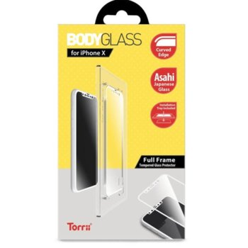 Протектор от закалено стъкло /Tempered Glass/ Тorrii BodyGlass IP8-BDG-02, Apple iPhone XS, iPhone X, бяла рамка image