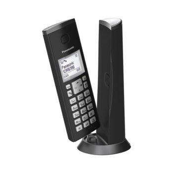 """Безжичен телефон Panasonic KX-TGK210EXW, 1.5"""" (3.8 cm) LCD дисплей, вътрешен/външен обхват 300/50м, функция """"свободни ръце"""", до 6 слушалки към базата, черен image"""