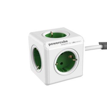 Разклонител Allocacoc Power Cube 1300GY, 5 гнезда, лепенка, защита от деца, бял/зелен, 1.5 м кабел image