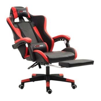 Геймърски стол Herzberg HG-8080RED, еко кожа, регулируема височина, газов амортисьор, до 150 kg, червен image
