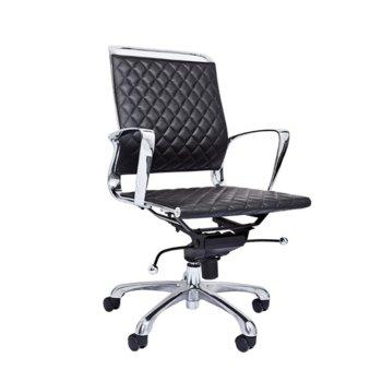 Работен стол RFG Ell W, екокожа, черна седалка, черна облегалка image