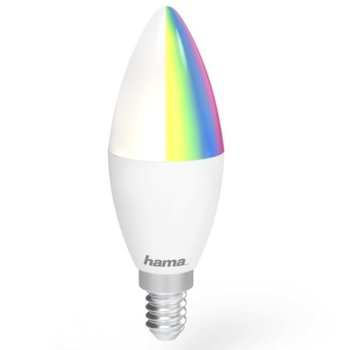 LED крушка HAMA WiFi-LED RGB colours 176549, E14, 4.5W, 350 lm, топла, 2700K, Wi-fi връзка, многоцветна с избор на цвят, димираща image