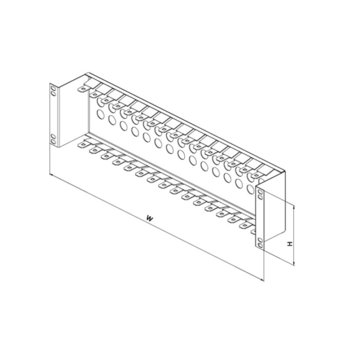 "19"" patch panel for LSA-PLUS modules, height 2 1/2 U, 16 positions, zinc plating image"