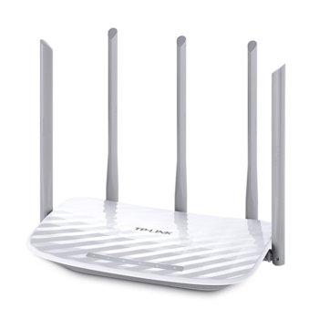 Рутер TP-Link Archer C60, 1350Mbps, 2.4GHz(450 Mbps)/5GHz(867 Mbps), Wireless AC, 4x LAN 100, 1x WAN 100, 5x външни антени image