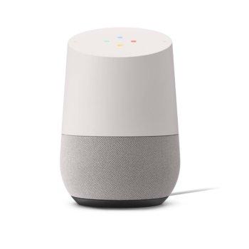 Безжична колонка Google Home Speaker, за Google Home система, сензорна повърхност, микрофон, контрол чрез гласови команди, microUSB, бяла image
