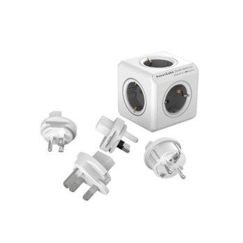 Разклонител Allocacoc Power Cube 1800GY Travel Kit, 5 гнезда, приставки за др. държави, защита от деца, бял/сив image