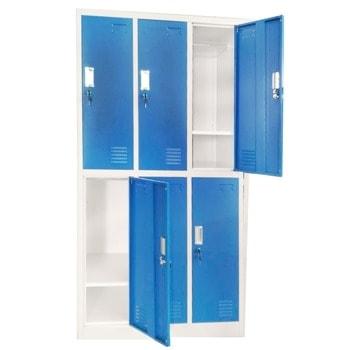 Метален шкаф RFG DZX-074/RAL5017, 6x рафтове, 6x шкафове, прахово боядисан, метален, заключване, вентилационен отвор, сив/син image