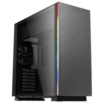 Кутия AeroCool GLO RGB, SSI-CEB/ATX/Micro-ATX/Mini-ITX, 2x USB 3.0, RGB, 1x 120mm вентилатор, прозорец, черен, без захранване image
