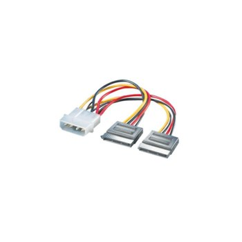 Преходник 4pin molex (m) -> 2x SATA 15pin, PowerSupply  image