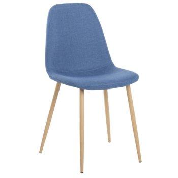 Трапезен стол Carmen 511 S, дамаска, метални крака, син image
