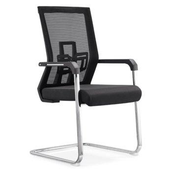 Посетителски стол RFG Lucca M, дамаска и меш, черна седалка, черна облегалка image