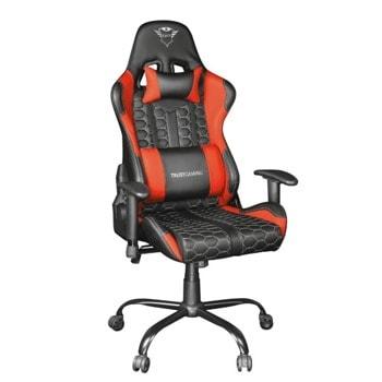 Геймърски стол Trust GXT 708R, до 150 кг., регулируеми подлакътници и облегалка, черен/червен image