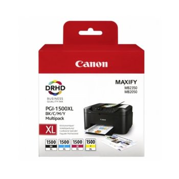 Мастило за Canon MAXIFY MB2050, MAXIFY MB2350 - Cyan/Magenta/Yellow/Black - BS9182B004 - 1500XL - 1200к image