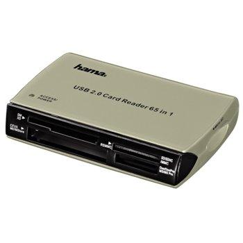 Четец за карти Hama 49009, USB 2.0, SD/SDHC/SDXC, microSD/microSDHC/microSDXC, MMC/MMC Plus, MS/MS PRO/MS select, MS Duo/MS PRO Duo/MS PRO Duo HG, xD-Picture Card, CompactFlash I & II, сребрист image