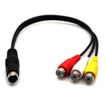 Преходник DeTech, S-Video(м) към 3x RCA Chinch(ж), черен image