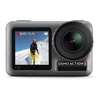"""Екшън камера DJI OSMO Action, камера за екстремен спорт, 4K@60fps, 2.25"""" (5.71 cm) дисплей, 12MPix, до 135 мин. време за работа, 8x Slow motion, водоустойчива, сива image"""