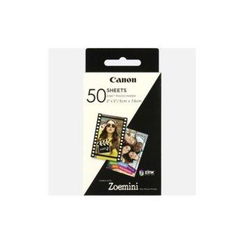 Фотохартия Canon ZINK, 5x7.6cm, за Canon Zoemini мобилен принтер, 50 листа image