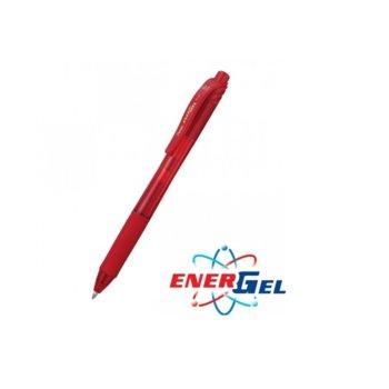 Автоматичен ролер Pentel Energel BL107, червен цвят на писане, дебелина на линията 0.7 mm, гел, червен, цената е за 1бр. (продава се в опаковка от 12бр.) image