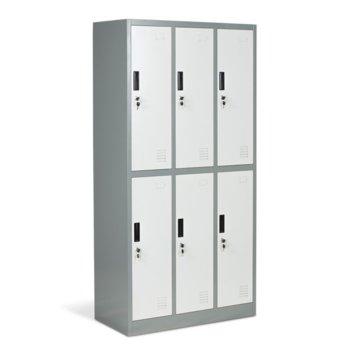 Гардероб Carmen CR-1243 J LUX, 6 бр. шкафове, метален, сив image