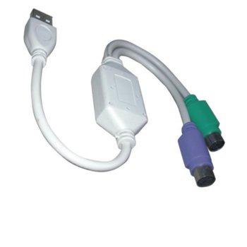 Преходник VCom CU807, от USB A(м) към PS2(м),бял, никелирани конектори, 0,2м image