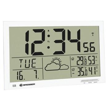 Часовник/будилник Bresser MyTime Jumbo LCD, цифров термометър, влагомер, часовник, будилник, календар, монтаж на стена, сгъваема стойка, бял image