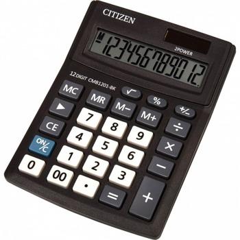 Калкулатор Citizen CMB-1201BK, 12-цифрен едноредов LCD дисплей, настолен, корен квадратен, функция на паметта с 4 клавиша: MR, MC, M +, M-, автоматично изключване, черен image