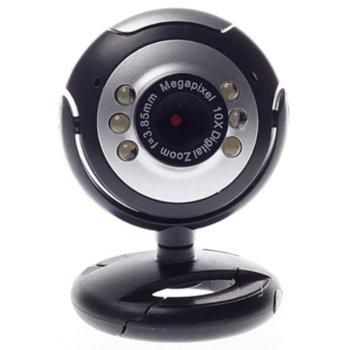 Уеб камера FY-134, микрофон, 6 led светлини, автоматичен баланс на бялото, автоматична корекция на цветовете, USB image