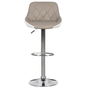 Бар стол Carmen, 3080, хромирана основа и мека, кожена седалка, газов амортисьор за коригиране на височината и степенка, бежаво бял image