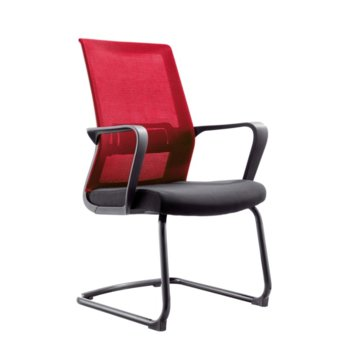 Посетителски стол RFG Smart M, дамаска и меш, черна седалка, червена облегалка, 2 броя в комплкет image