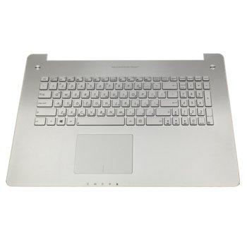 Клавиатура за ASUS N750 N750JV, US, кирилица, подсветка, сребърна image