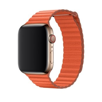 Каишка за смарт часовник Apple Watch (44mm) Sunset Leather Loop - Medium (Seasonal Spring2019), оранжева image