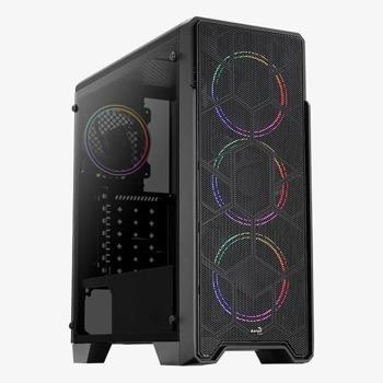 Кутия AeroCool Ore Saturn FRGB, ATX/Micro ATX/Mini-ITX, 1x USB 3.0, 2x USB 2.0, прозорец, RGB подсветка, черна, без захранване image