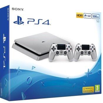 Конзола Sony PlayStation 4 Slim + допълнителен Dualshock 4 Silver контролер, 500GB, сребриста image