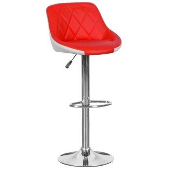 Бар стол Carmen, 3080, здрава хромирана основа и мека, кожена седалка, газов амортисьор за коригиране на височината и степенка, червено бял image
