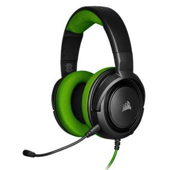 Слушалки Corsair HS35 Green, микрофон, геймърски, 3.5 mm jack, черни/зелени image