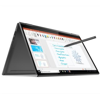 "Лаптоп Lenovo Yoga C640-13IML (81UE000YBM)(сив), четириядрен Comet Lake Intel Core i5-10210U 1.6/4.2 GHz, 13.3"" (33.78 cm) Full HD Touchscreen IPS Display, (USB Type C), 8GB DDR4, 512GB SSD, 1x USB-C, Windows 10 Home  image"
