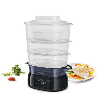 Уред за готвене на пара Philips Daily Collection HD9126/90, 900W, 9 литра, инфузер за подправки, съд за супа/ориз, черен image