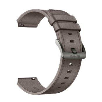 Каишка Huawei Gray Brown Leather Strap, за смарт часовник Huawei Watch GT 2 Pro, кафява image