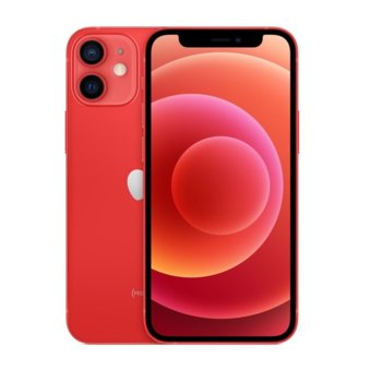 """Смартфон Apple iPhone 12 mini (MGE03GH/A)(червен), 5.4"""" (13.72 cm) Super Retina XDR OLED дисплей, шестядрен A14 Bionic, 4GB RAM, 64GB Flash памет, 12.0 + 12.0 & 12.0 MPix камера, iOS 14, 135 g image"""
