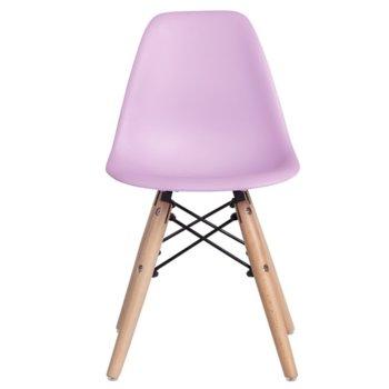 Детски трапезен стол Carmen 9957 B, полипропилен, дървена база, розов image