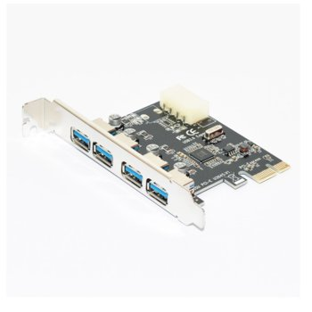 Контролер Makki MAKKI-PCIE-4XUSB30-V1, от PCI-E x1 към 4x USB A 3.3(ж) image