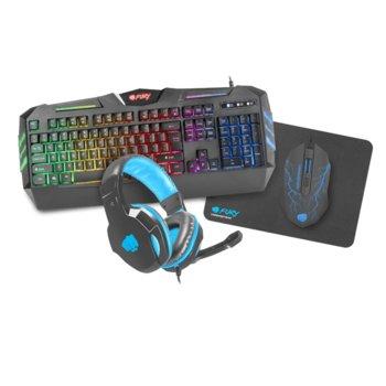 Комплект клавиатура и мишка Fury Thunderstreak 2.0, подложка за мишка (320 x 240 x 3 mm), слушалки с микрофон, подсветка, оптична (1600 dpi), USB, черни image
