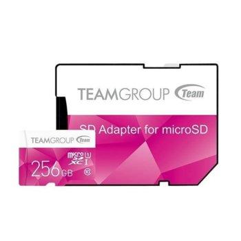 Карта памет 256GB microSDXC Team Group Color с адаптер, Class 10 UHS-I, скорост на четене 80 MB/s, скорост на запис 20 MB/s image
