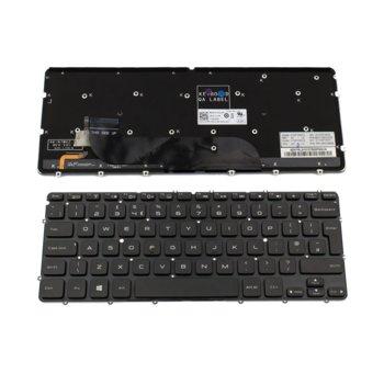 Клавиатура за лаптоп Dell, съвместима с модели XPS 12-9Q23/13-9333, UK, без рамка, с подсветка, черна image