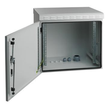 Комуникационен шкаф Mirsan MR.IP55W12U45.03, 12U, 600 x 450 x 630, товароносимост 100кг, бял, за стена, Outdoor image