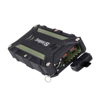 Външна батерия /power bank/ Sandberg Survivor Pro, 15600mAh, Micro USB(ж)/USB A(ж)/USB C(ж), фенерче, водоустойчива (IP68), черна image