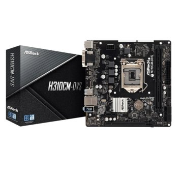 Дънна платка ASRock H310CM-DVS, H310, 1151, DDR4, PCI-E(DVI-D,D-Sub), 4x SATA 6Gb/s, 4x USB 3.1 Gen1, mATX image